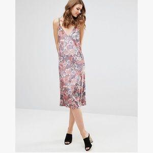 ASOS Tall Velvet Floral Midi